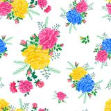 Abstract flowers rose 004. Bright seamless pattern with red, yellow,blue roses on a white background.Vector illustration in the style of shabby chic.Beautiful Stock Image