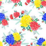 Abstract flowers rose 03-01. Bright seamless pattern with red,yellow,blue roses on a white background.Vector illustration in the style of shabby chic.Beautiful royalty free illustration