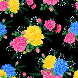 Abstract flowers rose 02-01. Magnificent bouquet.Seamless pattern with pink,yellow,blue roses on a black background.Vector illustration in retro style.Beautiful Royalty Free Stock Photo