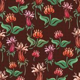 Abstract flowers seamless pattern. Abstract floral seamless pattern.  colorful flowers royalty free illustration