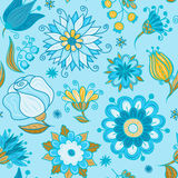 Abstract flowers seamless pattern blue Stock Photography