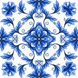 Abstract flowers seamless pattern, blue white gzhel ornament Stock Image