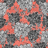 Abstract flowers seamless pattern. Doodle, sketch. Black and white flowers on scarlet background. For fabric design, textile Stock Image