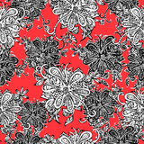 Abstract flowers seamless pattern. Doodle, sketch. Black and white flowers on scarlet background. For fabric design, textile Stock Images