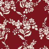 Abstract flowers seamless pattern, floral background. Fantasy white  on a red backdrop. For the design of the fabric Stock Photo
