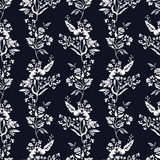 Abstract flowers seamless pattern, floral monochrome vector background. Fantasy white  on a dark blue backdrop. For the Stock Photo