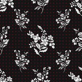 Abstract flowers seamless pattern, floral vector background. Fantasy white on black and red polka dot. For the design vector illustration