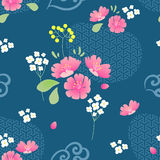 Abstract Flowers Seamless pattern with navy background Stock Photo