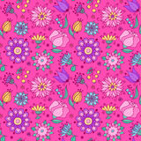 Abstract flowers seamless pattern pink Stock Image