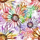 Abstract Flowers Seamless Pattern. Vector, EPS 10 Royalty Free Stock Images