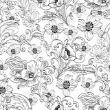 Abstract flowers seamless pattern, vector floral black and white contour background, cartoon hand-drawn, elegant. Monochrome ornament. Outline bud, petals, stem Stock Photos
