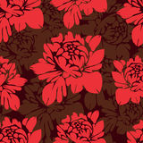 Abstract flowers seamless pattern. Vintage floral background. Red buds on a burgundy . For the fabric design, wallpaper, wrap Stock Photos