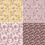 Abstract flowers seamless patterns, wedding lace backgrounds set Stock Image