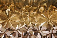 Abstract flowers shape with small shining bokeh on golden and light brown Stock Image