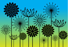 Abstract flowers silhouettes background Stock Image