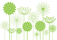 Abstract flowers silhouettes background Stock Photo