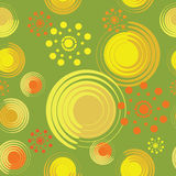Abstract flowers from spirals and circles. Warm green background. Seamless pattern for designer fabrics, wrapping paper, tapestries, glassware Stock Image