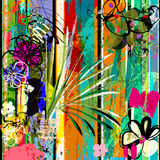 Abstract flowers, strokes, splashes. Abstract background, with paint strokes, splashes and little flowers stock illustration