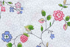 Abstract flowers on textile fabric Stock Image