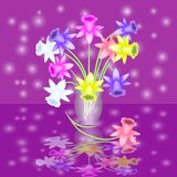 Abstract flowers in a vase. Beautiful festive card. Stock Image