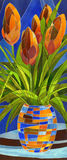 Abstract flowers in a vase. Decorative gouache painting. Abstract terracotta flowers in a vase with geometric pattern on a dark blue backdrop Stock Photography