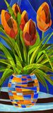 Abstract flowers in a vase. Decorative painting. Abstract flowers in a vase with geometric pattern Royalty Free Stock Photography