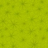 Abstract flowers vector seamless pattern in green Royalty Free Stock Photo