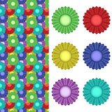 Abstract flowers. Vector - an abstract flowers (six colors Royalty Free Stock Photography