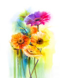 Abstract flowers watercolor painting daisy gerbera flowers Royalty Free Stock Image
