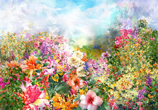 Abstract flowers watercolor painting. multicolored flowers Royalty Free Stock Photos