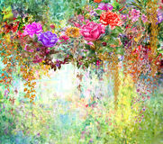 Abstract flowers watercolor painting. Spring multicolored flowers illustration Stock Image