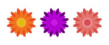 Abstract Flowers on White Background. Vector Stock Images