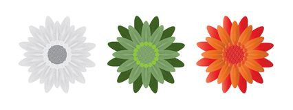 Abstract Flowers on White Background. Vector Royalty Free Stock Image