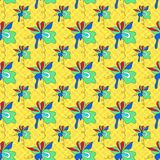 Abstract flowers on a yellow background. Geometric seamless pattern Royalty Free Stock Image
