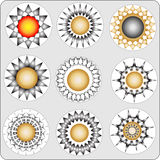 Abstract flowerses-stars. Symbolic badge Stock Photos