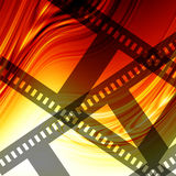 Abstract flowing fire background. With negative filmstrip Royalty Free Stock Images