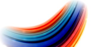 Abstract flowing motion wave, liquid colors mixing, vector abstract background. With light dots effect Stock Photo