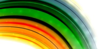 Abstract flowing motion wave, liquid colors mixing, vector abstract background. With light dots effect Royalty Free Stock Photography