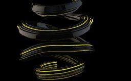 Abstract flows and spiral forms with yellow glowing stripes. Isolated on black background vector illustration