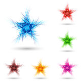 Abstract fluffy star. Abstract fluffy star in different colors on white Royalty Free Stock Images