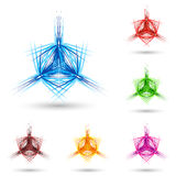 Abstract fluffy star. Abstract star with sharp lines. Set of color variations on white Stock Images