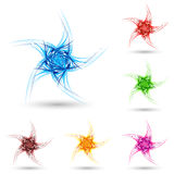 Abstract fluffy star. Abstract spiky star with color variations on white Stock Image