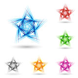 Abstract fluffy star. Abstract spiky star with set of color variations on white Royalty Free Stock Image