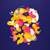 Abstract fluid colorful bubbles vector background. With different geometric shapes stock illustration
