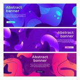 Abstract fluid shapes banner. Softly liquid shape flux, color splash gradient and colorful horizontal banners vector. Abstract fluid shapes banner. Softly liquid royalty free illustration