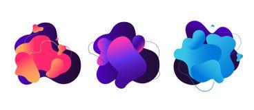 Abstract fluid shapes. Liquid graphic elements, 3d magic flow dynamic bubbles. Color modern vector backgrounds. Colored liquid fluid, color shape flow vector illustration