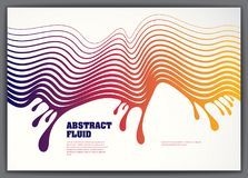 Abstract fluid vector background with colorful liquid drops wave. 3d colorful gradient motion art. Lined texture, dynamic surface, curve lines, flow shape Stock Photography