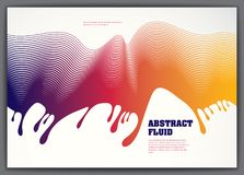 Abstract fluid vector background with colorful liquid drops wave. 3d colorful gradient motion art. Lined texture, dynamic surface, curve lines, flow shape Stock Image