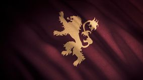 Abstract fluttering dark red flag with a lion on its hind legs ready to fight, seamless loop. Emblem of Lanister house. Game of thrones concept royalty free stock photography