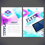 Abstract Flyer, Brochure Design Templates. Web sites, page, leaflet.Geometric Triangular backgrounds. Mobile and computer technologies, Template page marketing vector illustration